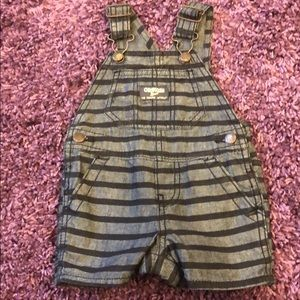 Baby Boy Osh Kosh Striped Shortall Sz 6 Months